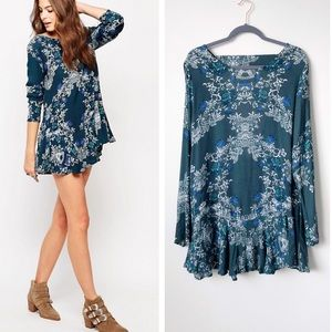 Free People Smooth Talker Printed Tunic Emerald Lg